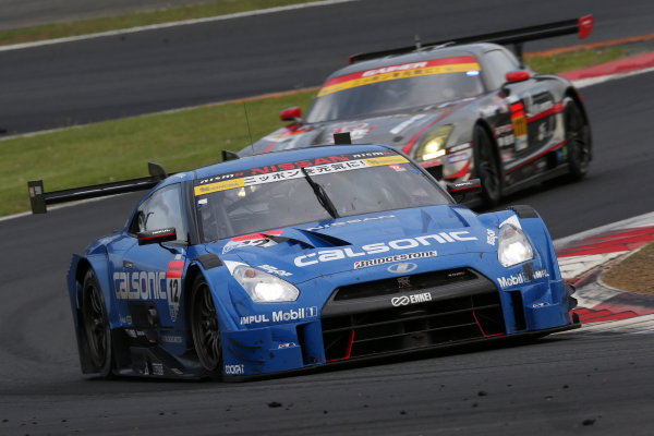 2015 Japanese Super GT Series. Fuji, Japan. 2nd - 3rd May 2015. Rd 2. GT500 2nd position Hironobu Yasuda & J.P.L.De Oliveira ( #12 CALSONIC IMPUL GT-R ) action. World Copyright: Masahide Kamio/LAT Photographic. Ref:  2015SGT_Rd2_05