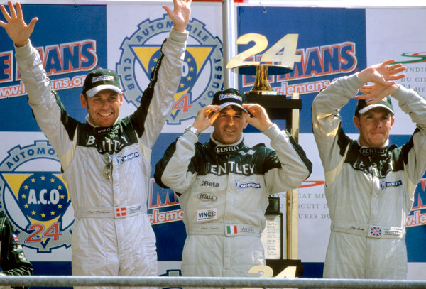 Le Mans, France. 14th - 15th June 2003.The winning Bentley drivers: Kristensen, Capello and Smith.World Copyright: Mike Weston/LAT Photographic.Ref:  03LM08.