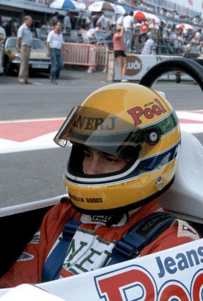 Ayrton Senna, West Surrey Racing, Ralt RT3/83 Toyota/Novamotor, on the grid.