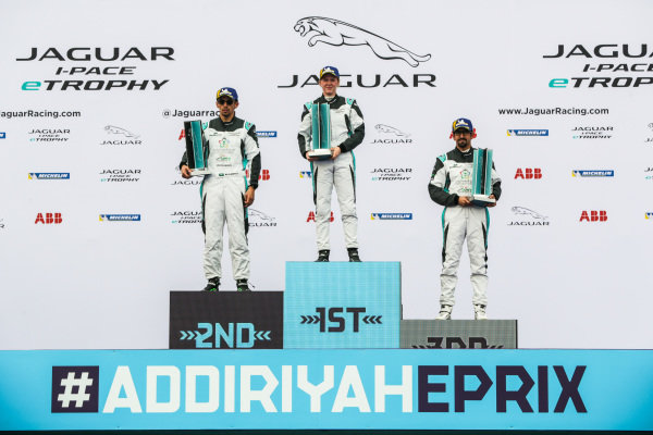 The AM class podium: winner Alice Powell (GBR), Jaguar VIP car, 2nd position Bandar Alesayi (SAU), Saudi Racing and 3rd position Ahmed Bin Khanen (SAU), Saudi Racing