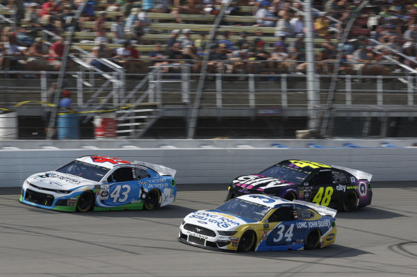 #34: Michael McDowell, Front Row Motorsports, Ford Mustang Long John Silver's #43: Darrell Wallace Jr., Richard Petty Motorsports, Chevrolet Camaro Victory Junction #48: Jimmie Johnson, Hendrick Motorsports, Chevrolet Camaro Ally