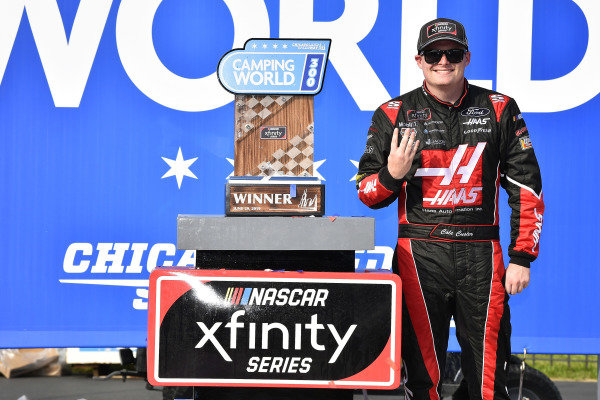 #00: Cole Custer, Stewart-Haas Racing, Ford Mustang Haas Automation celebrates his win