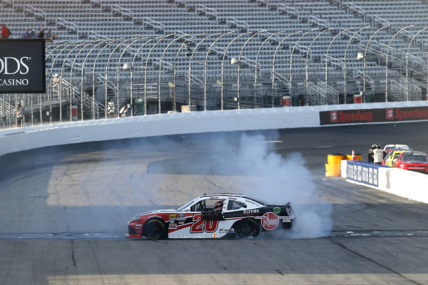 #20: Christopher Bell, Joe Gibbs Racing, Toyota Supra Rheem-Watts celebrates his win with a burnout