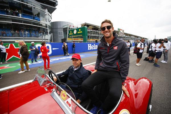 Romain Grosjean, Haas F1 Team, on the drivers parade.