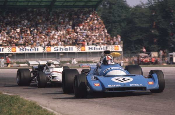 1971 Italian Grand Prix.Monza, Italy.3-5 September 1971.Chris Amon (Matra-Simca MS120B) leads Howden Ganley (BRM P160). They finished in 6th and 5th positions respectively.World Copyright - LAT Photographic