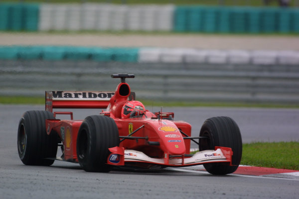 2001 Malaysian Grand Prix.Sepang, Kuala Lumpur, Malaysia. 16-18 March 2001.Michael Schumacher (Ferrari F2001) 1st position.World Copyright - LAT Photographicref: 8 9MB DIGITAL IMAGE