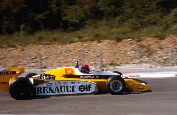 1979 French Grand Prix.Dijon-Prenois, France.29/6-1/7 1979.Jean-Pierre Jabouille (Renault RS10) 1st position.Ref-79 FRA 13.World Copyright - LAT Photographic