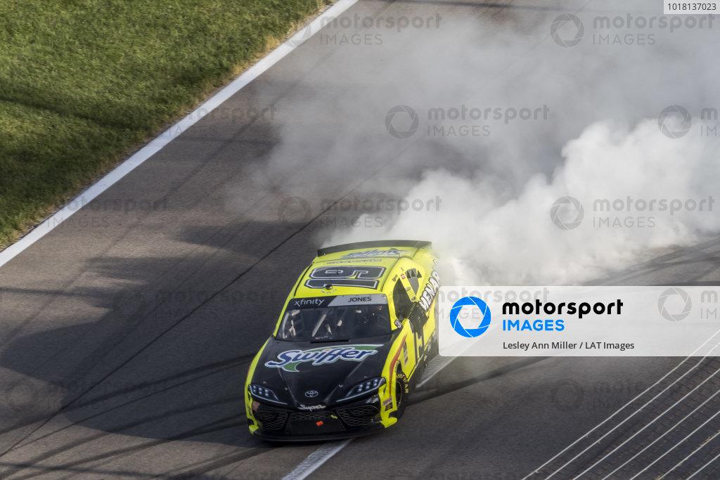 #19: Brandon Jones, Joe Gibbs Racing, Menards/Swiffer Toyota Supra celebrates his victory with a burnout