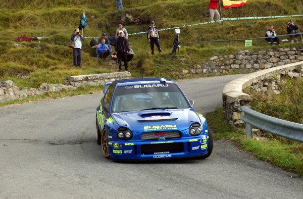 2002 World Rally Championship.Rallye d'Italia, 20-22 September.Sanremo, Italy.Petter Solberg on Stage 2.Photo: Ralph Hardwick/LAT