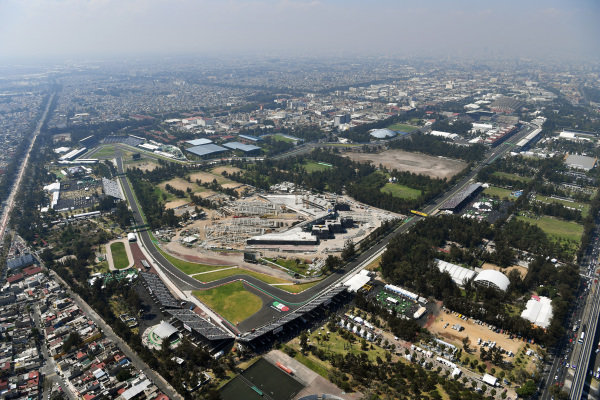 Aerial view at Formula One World Championship, Rd18, Mexican Grand Prix, Qualifying, Circuit Hermanos Rodriguez, Mexico City, Mexico, Saturday 28 October 2017.