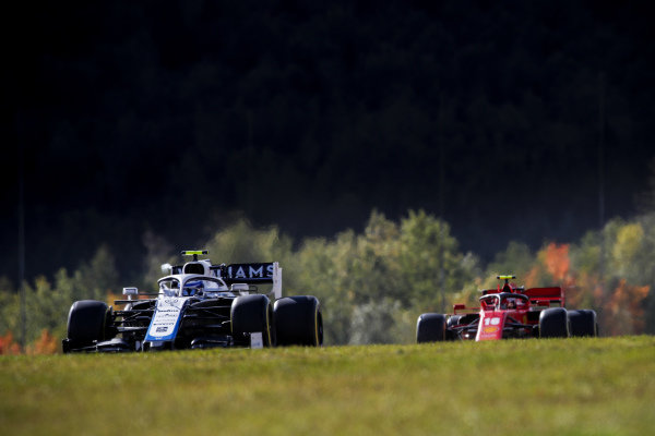 Nicholas Latifi, Williams FW43, leads Charles Leclerc, Ferrari SF1000