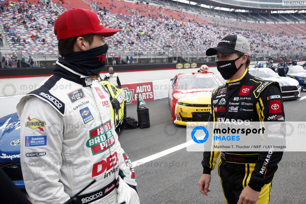 #20: Harrison Burton, Joe Gibbs Racing, Toyota Supra Hunt Brothers Pizza/DEX Imaging and #19: Brandon Jones, Joe Gibbs Racing, Toyota Supra Menards/Jen-Weld