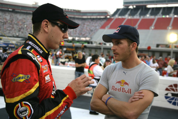 Kyle Busch (USA) Miccosukee Resorts/NOS Energy Drink  Toyota and Scott Speed (USA) Red Bull Toyota. O'Reilly 200, Bristol Motor Speedway, Tennessee, USA, 20 August 2008.