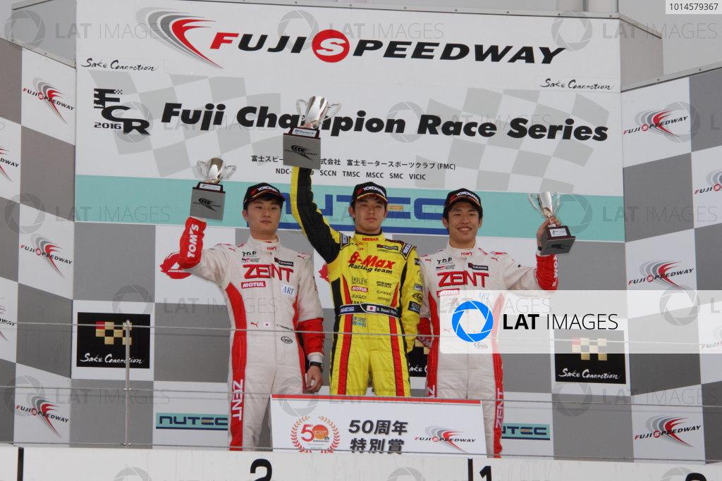 2016 Japanese Formula 3 Championship Fuji, Japan. 14th-15th May 2016. Rd 3 & 4. Winner Daiki Sasaki  ( #21 B-MAX NDDP F3 ) on the podium with 2nd position JKenta Yamashita ( #36 ZENT TOM'S F312 ) and 3rd position Sho Tsuboi ( #37 ZENT TOM'S F314 ). World Copyright: Hideaki Kobayashi/LAT Ref: (filenamebase}