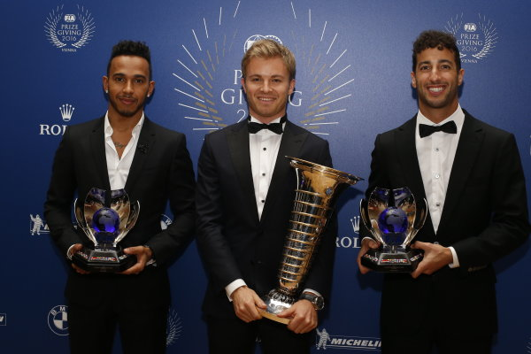 2016 FIA Prize Giving Vienna, Austria Friday 2nd December 2016 F1 World Champion Nico Rosberg with Lewis Hamilton and Daniel Ricciardo and thier trophies. Photo: Copyright Free FOR EDITORIAL USE ONLY. Mandatory Credit: FIA ref: 30560144674_b69d073220_o