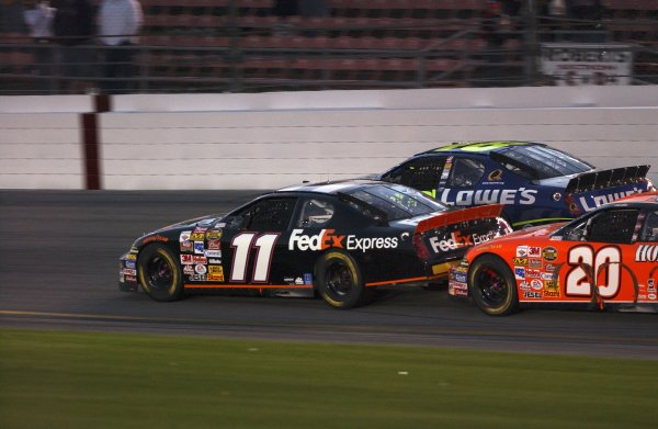February, Daytona Int Speedway, Budweiser Shootout USA, 2006,Denny Hamlin(11) at speed in tight formation with Jimmie Johnson and Tony Stewart(20) attempting to make the pass,2006 Copyright©Robt LeSieur USA LAT Photographic