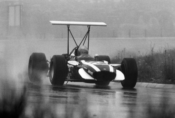 1968 German Grand Prix.Nurburgring, Germany. 4 August 1968.Lucien Bianchi, Cooper T86B-BRM, retired, action in the wet.World Copyright: LAT PhotographicRef: Autocar b&w print
