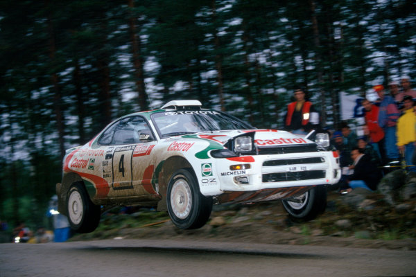 1000 Lakes Rally, Finland. 27th - 29th August 1993. Rd 9. Juha Kankkunen/Juha Piironen (Toyota Celica Turbo 4WD), 1st position, action. World Copyright: LAT Photographic Ref: 35mm transparency 93RALLY02