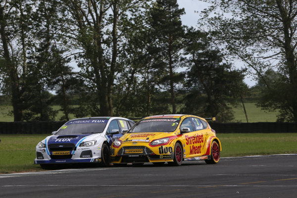 2017 British Touring Car Championship, Croft, North Yorkshire. 10th-11th June 2017, Ashley Sutton (GBR) Team BMR Subaru Levorg and Mat Jackson (GBR) Team Shredded Wheat Racing with Duo Ford Focus  World copyright. JEP/LAT Images