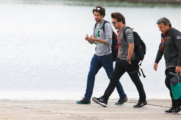 Circuit Gilles Villeneuve, Montreal, Canada. Friday 9 June 2017. Fernando Alonso, McLaren, arrives at the circuit with guests. World Copyright: Charles Coates/LAT Images ref: Digital Image DJ5R5507