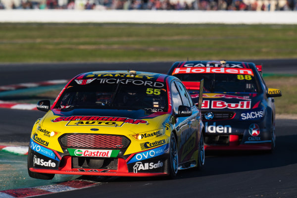 2017 Supercars Championship Round 5.  Winton SuperSprint, Winton Raceway, Victoria, Australia. Friday May 19th to Sunday May 21st 2017. Chaz Mostert drives the #55 Supercheap Auto Racing Ford Falcon FGX. World Copyright: Daniel Kalisz/LAT Images Ref: Digital Image 200517_VASCR5_DKIMG_5649.JPG