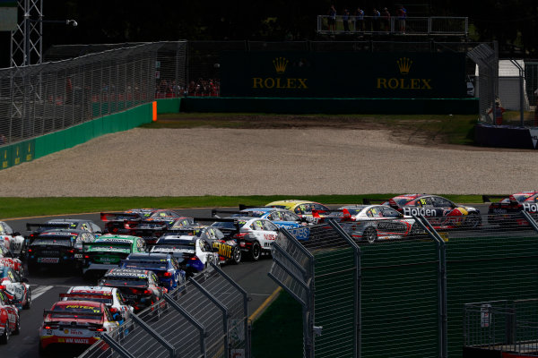 Australian Supercars Series Albert Park, Melbourne, Australia. Sunday 26 March 2017. Race 4. The field squeezes through the first corner. World Copyright: Zak Mauger/LAT Images ref: Digital Image _56I0188