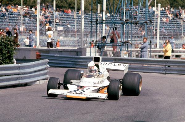 1974 Monaco Grand Prix.Monte Carlo, Monaco. 26 May 1974.Mike Hailwood (McLaren M23-Ford).World Copyright: LAT Photographicref: 35mm Transparency Image