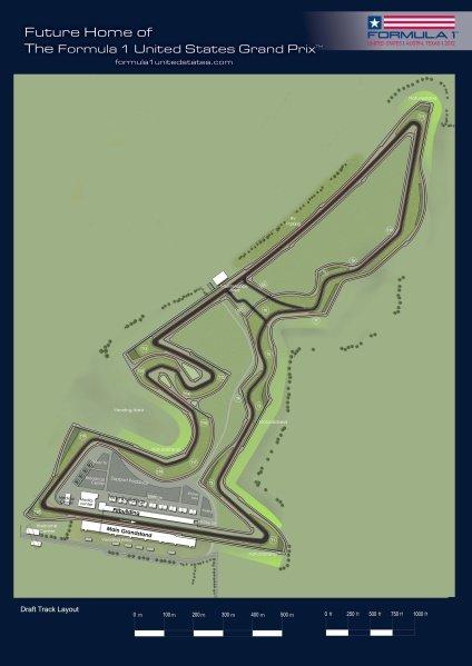 Draft Track Layout of the Formula 1 United States Grand Prix, Austin, Texas, USA.Formula 1 United States Grand Prix Race Track Revealed. Austin, Texas, USA. 1 September 2010.