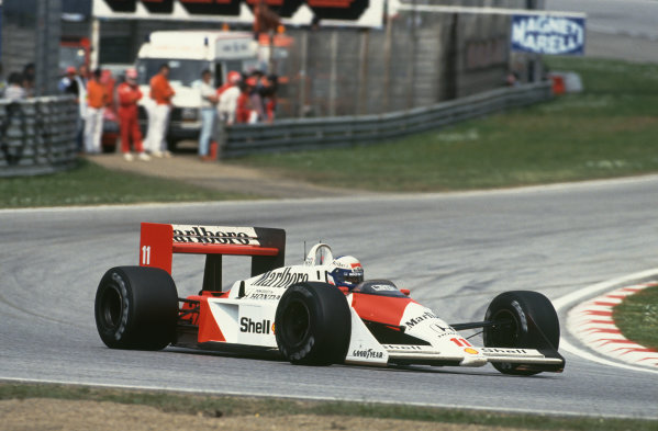 Imola, Italy. 29th April - 1st May 1988. Alain Prost (McLaren MP4/4-Honda), 2nd position, action. World Copyright: LAT Photographic Ref: 88SM06