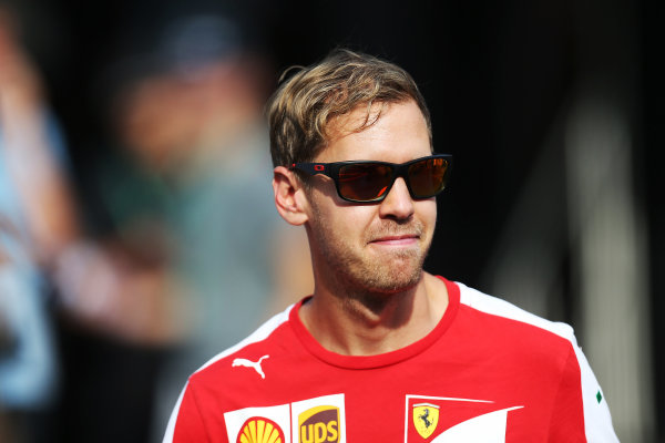 Autodromo Nazionale di Monza, Monza, Italy. Friday 4 September 2015. Sebastian Vettel, Ferrari. World Copyright: Jed Leicester/LAT Photographic ref: Digital Image JL1_8150