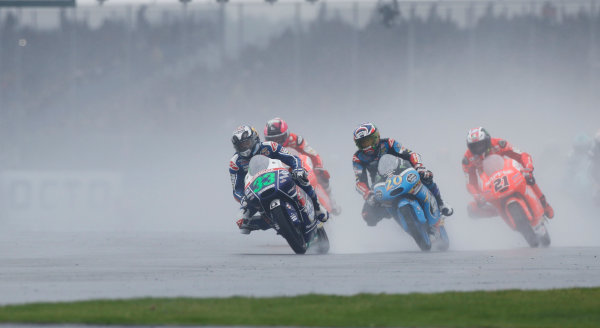 2015 Moto3 Championship.  British Grand Prix.  Silverstone, England. 28th - 30th August 2015.  Enea Bastianini, Honda, leads Fabio Quartararo, Honda, and Francesco Bagnaia, Mahindra.  Ref: KW7_8487a. World copyright: Kevin Wood/LAT Photographic