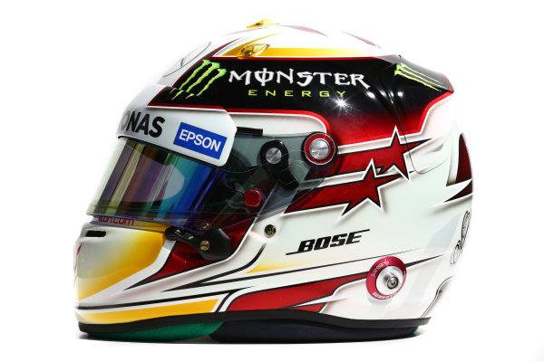 Albert Park, Melbourne, Australia. Helmet of Lewis Hamilton, Mercedes AMG.  Thursday 12 March 2015. World Copyright: LAT Photographic. ref: Digital Image 2015_Helmet_063