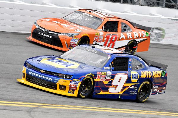 20-21 February, 2015, Daytona Beach, Florida USA Chase Elliott and Daniel Suarez, Arris Toyota Camry ? 2015, Nigel Kinrade LAT Photo USA