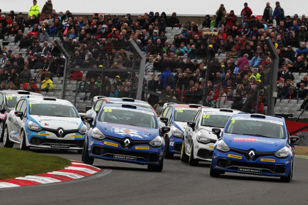 2014 Renault Clio Cup,  Brands Hatch, Kent. 10th - 12th October 2014. Start of Race 2 Josh Cook (GBR) SV Racing with KX Renault Clio Cup leads. World Copyright: Ebrey / LAT Photographic.