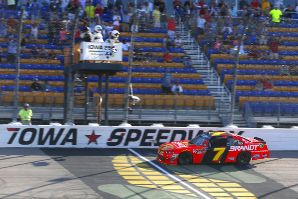 #7: Justin Allgaier, JR Motorsports, Chevrolet Camaro BRANDT Professional Agriculture drives under the checkered flag to win