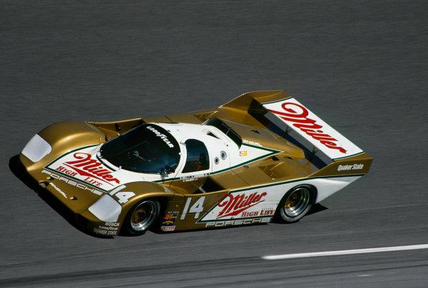 Daytona 24 Hours, Florida, USA. 30th - 31st January 1988. Rd 1.  Chip Robinson/Derek Bell/Al Holbert (Porsche 962), 7th position, action. World Copyright: LAT Photographic. Ref:  88IMSA DAY01.