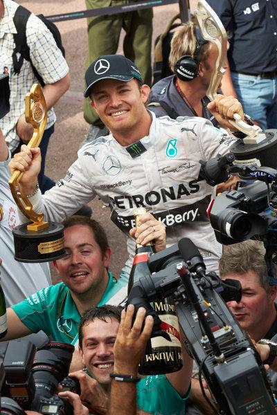 Monte Carlo, Monaco. Sunday 25 May 2014. Nico Rosberg, Mercedes AMG, 1st Position, celebrates victory. World Copyright: Steve Etherington/LAT Photographic. ref: Digital Image SNE12344 copy