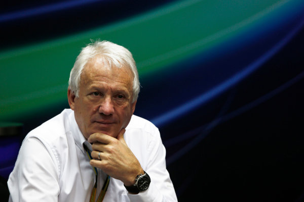 Sepang International Circuit, Sepang, Kuala Lumpur, Malaysia. Friday 28 March 2014. Charlie Whiting, Race Director, FIA, in the FIA Press Conference. World Copyright: Charles Coates/LAT Photographic. ref: Digital Image _N7T6594