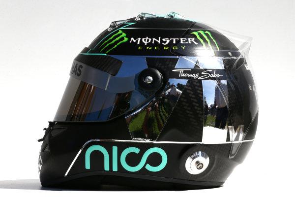 Albert Park, Melbourne, Australia. Thursday 13 March 2014. The helmet of Nico Rosberg (GER) Mercedes AMG F1. World Copyright: xpb Images/LAT Photographic. ref: Digital Image 2014helmets12