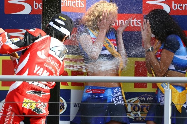 2007 World Superbike Championship. Brands Hatch, England. 3rd - 5th August 2007. Noriyuki Haga, Yamaha YZF R1, celebrates 2nd position in race two by spraying the podium girls with champagne. World Copyright: Kevin Wood/LAT Photographic ref: Digital Image
