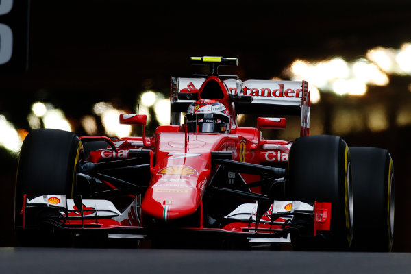 Monte Carlo, Monaco. Thursday 21 May 2015. Kimi Raikkonen, Ferrari SF15-T. World Copyright: Glenn Dunbar/LAT Photographic. ref: Digital Image _W2Q6181