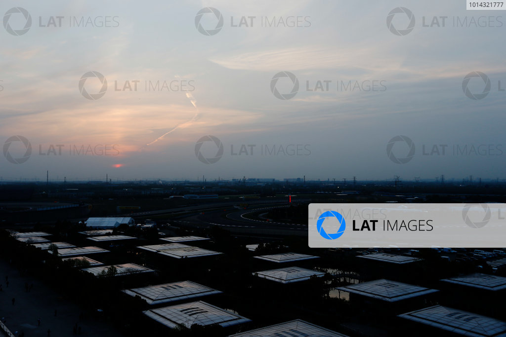 Shanghai International Circuit, Shanghai, China. Friday 10 April 2015. A view over the circuit at sunset. World Copyright: Charles Coates/LAT Photographic. ref: Digital Image _N7T0370
