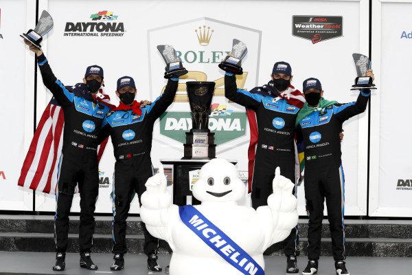 #10 Konica Minolta Acura ARX-05 Acura DPi, DPi: Helio Castroneves, Alexander Rossi, Filipe Albuquerque, Ricky Taylor winner, victory lane, Bibendum, Michelin Man
