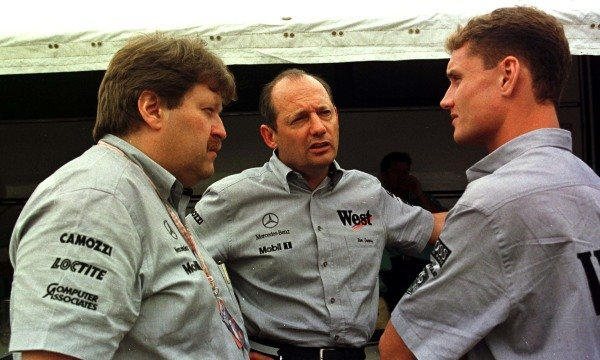 1997 Spanish Grand Prix. Catalunya, Barcelona, Spain. 23-25 May 1997. Left-to-right: Norbert Haug (Daimler-Benz Motorsport Manager), Ron Dennis and David Coulthard (both (McLaren Mercedes-Benz). World Copyright - Tee/LAT Photographic