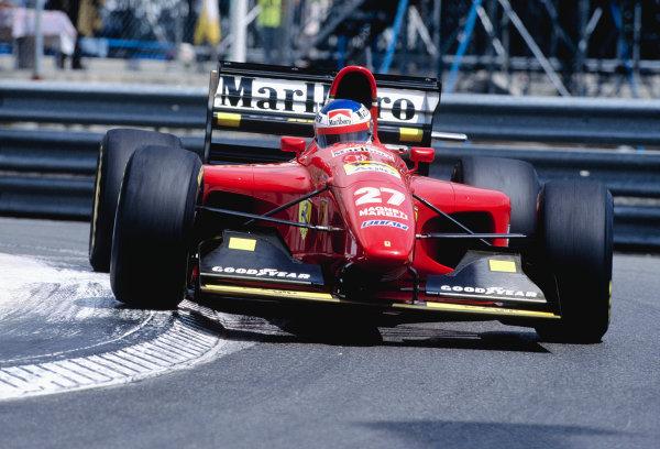 1994 Monaco Grand Prix.Monte Carlo, Monaco. 12-15 May 1994.Jean Alesi (Ferrari 412T1) 5th position.Ref-94 MON 85.World Copyright - LAT Photographic