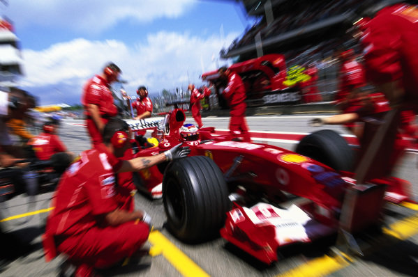 Rubens Barrichello, Ferrari F2004, during a practice pitstop.