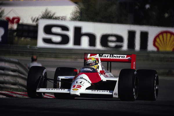 Ayrton Senna, McLaren MP4-4 Honda, at Eau Rouge.