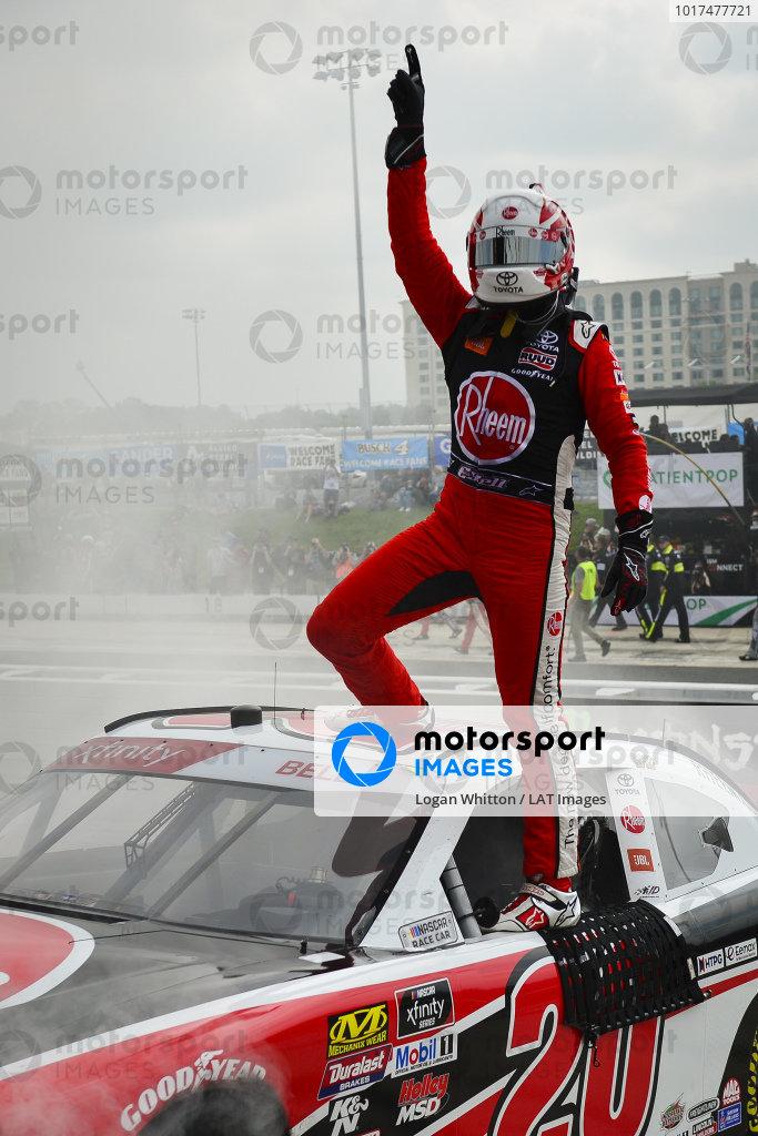 #20: Christopher Bell, Joe Gibbs Racing, Toyota Supra Rheem celebrates after winning