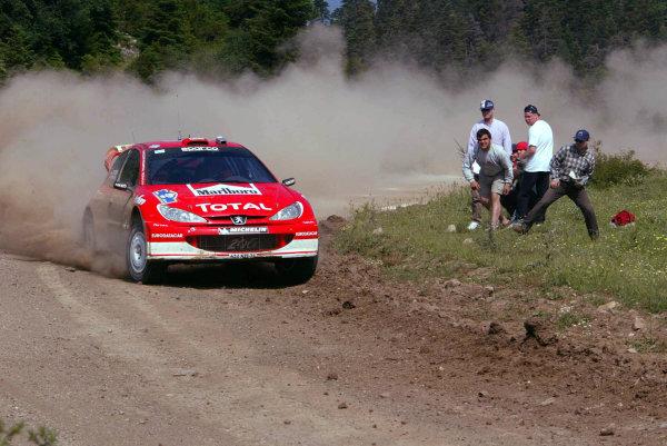 Harri Rovanpera,Peugeot 206 WRC, Acropolis Rally 2003.Photo: McKlein/LAT