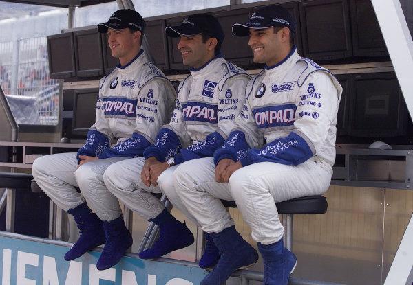 2001 Spanish Grand PrixCatalunya, Barcelona, Spain. 27-29 April 2001.Williams BMW team drivers Ralf Schumacher, Juan-Pablo Montoya and test driver Marc Gene.World Copyright - Steve Etherington/LAT Photographicref: 18 mb Digital Image